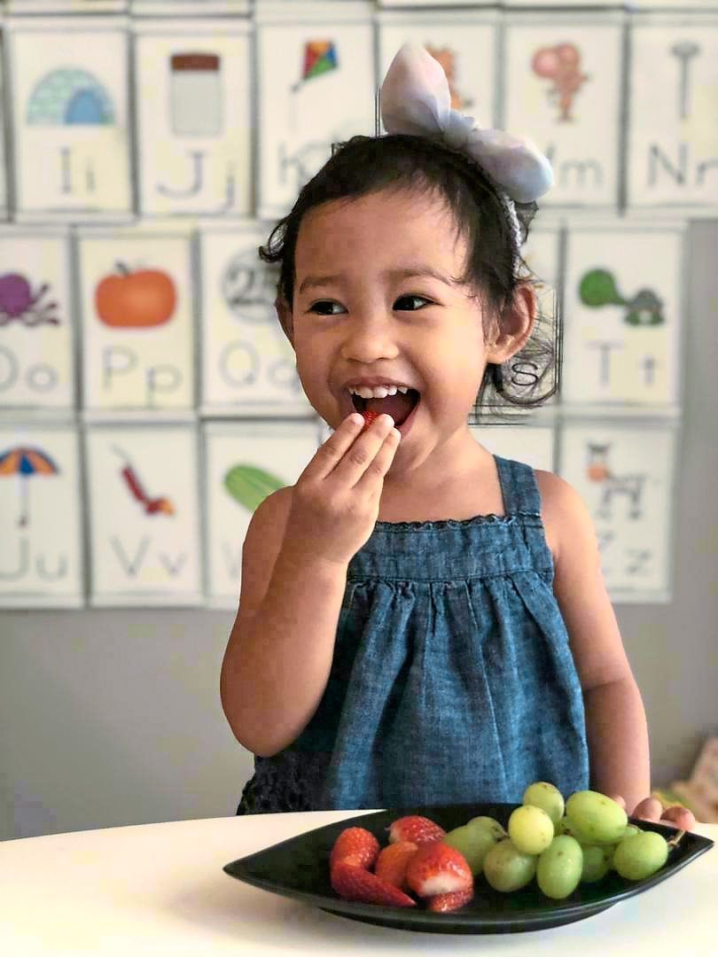 Chan has made sure her daughter Maia always has enough fresh fruits to snack on. — EUGENIE CHAN