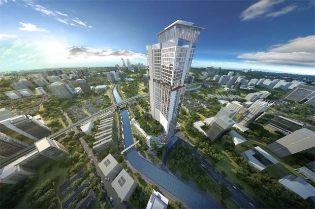 Crest Builder is planning a mixed commercial development called Latitud8, which is a joint-venture project with Prasarana Malaysia. Building on top of the Dang Wangi LRT station, the project has a gross development value (GDV) of about RM1.1bil and is scheduled to be launched by the end of 2020. (Pic shows an artist\'s impression of The Bank, Crest Builder\'s 43-storey project atop the Dang Wangi LRT station)