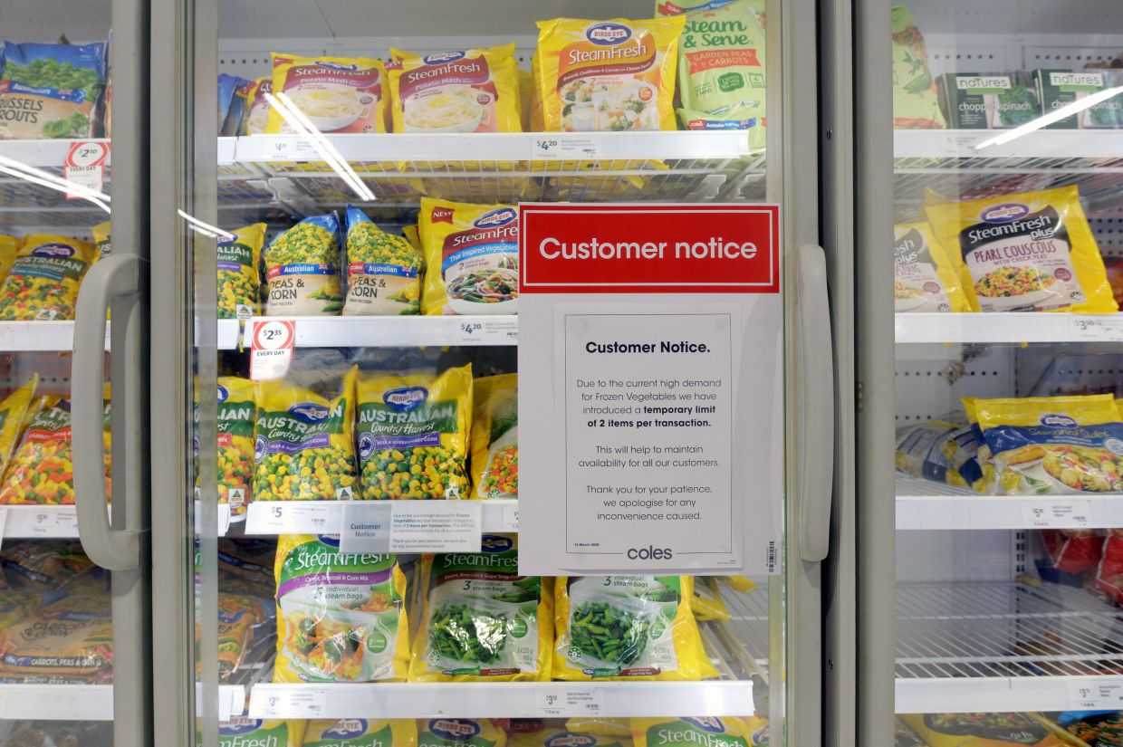 Frozen vegetables are a good bet during this period but in some countries like Australia, supermarkets have started limiting the amounts that people can buy. — Bloomberg
