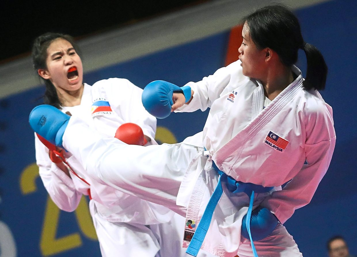 All martial artists yell or grunt when they throw a kick or punch to focus their aim, strength and energy.