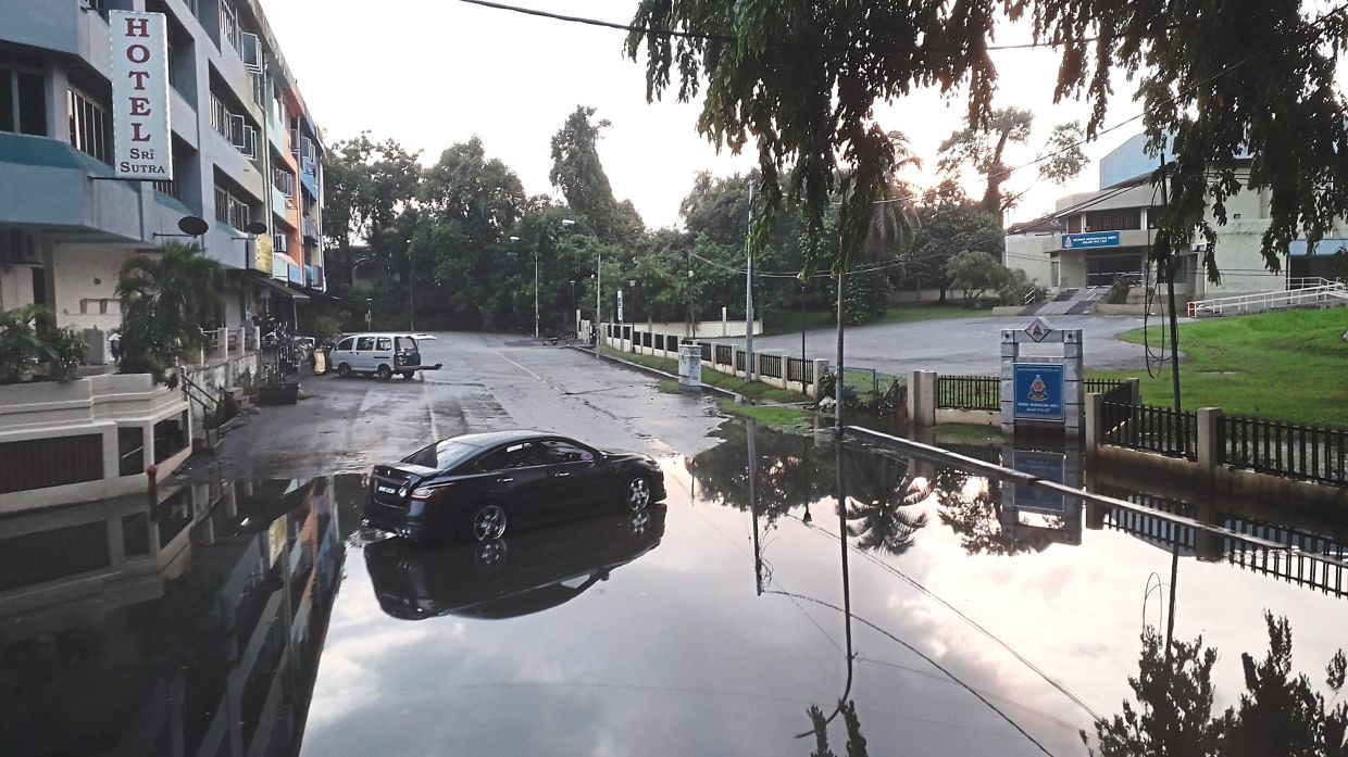 Part of Lorong 51A/227A was also flooded after heavy rain.