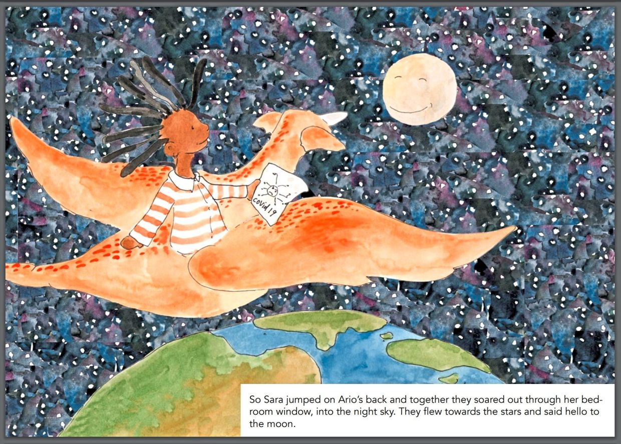 Sara and Ario take to the skies at night in a page from 'My Hero Is You'. Photo: Handout