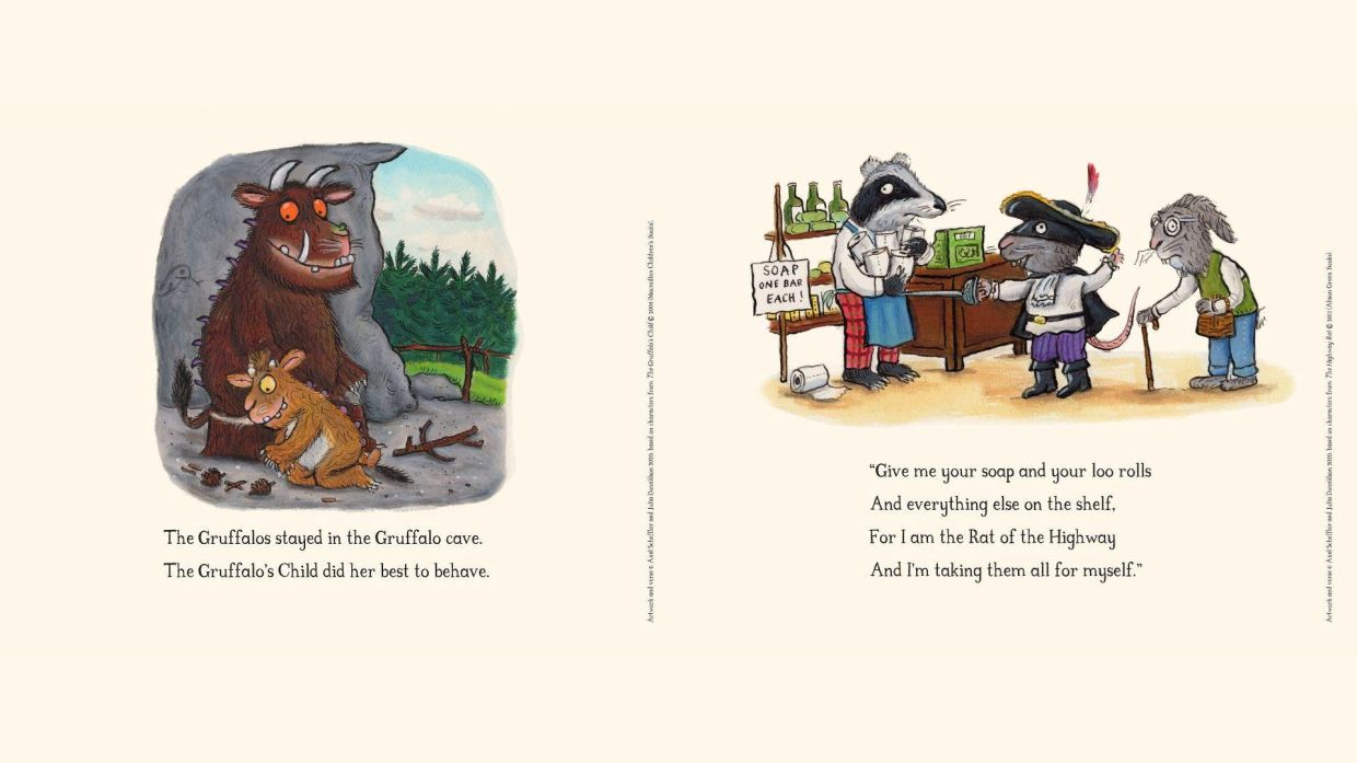 Author Julia Donaldson and illustrator Axel Scheffler - who between them have created many beloved children's characters - are helping young children process the changes to life due the Covid-19 pandemic with a series of 12 illustrations. Photo: Handout