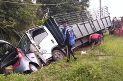 Woman and seven-year-old son die after car crashes into lorry