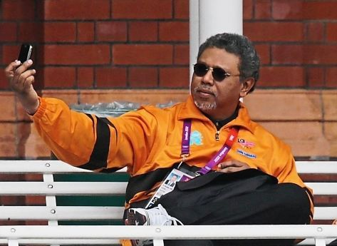 Capturing the moment: Datuk Dr Ramlan taking a selfie at the London Olympic Games at the Lord's Cricket Ground in 2012.
