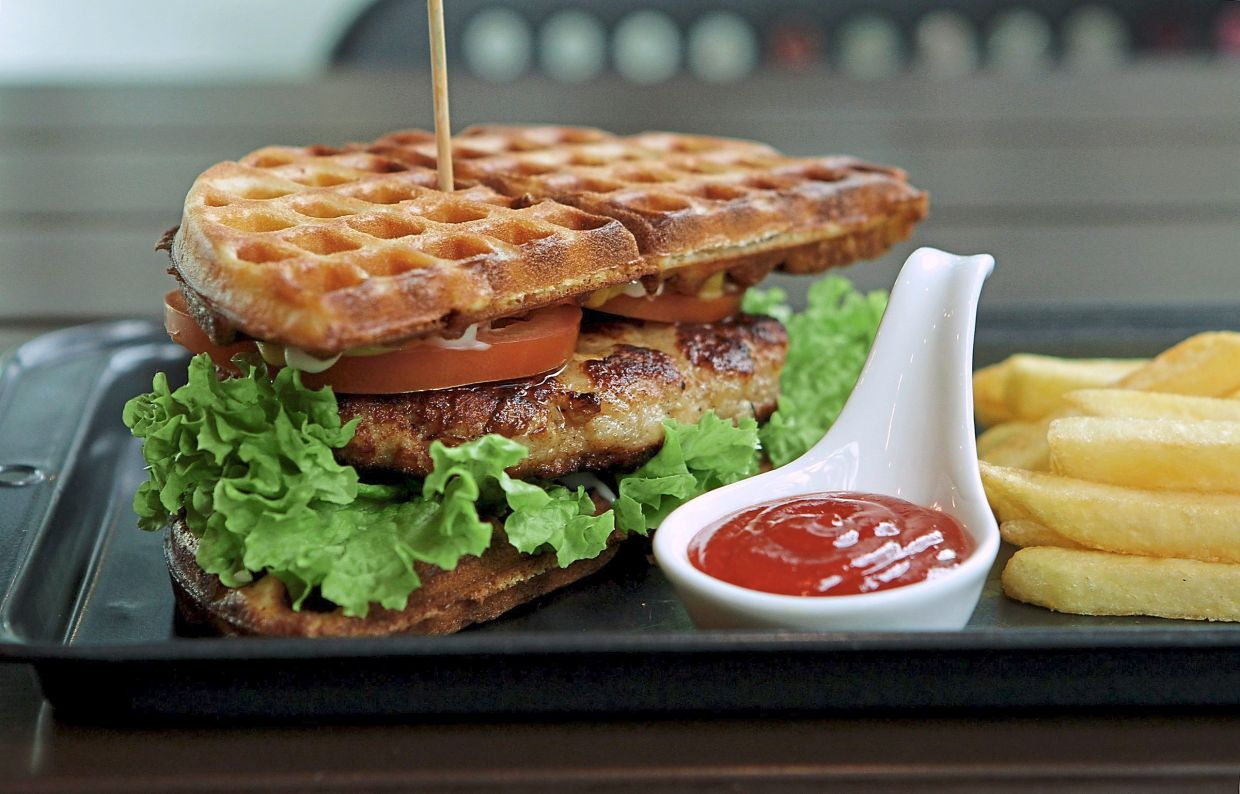 The side angle works best for this waffle-burger as it shows the layers within.