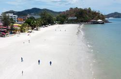 Famous Langkawi beach eerily quiet