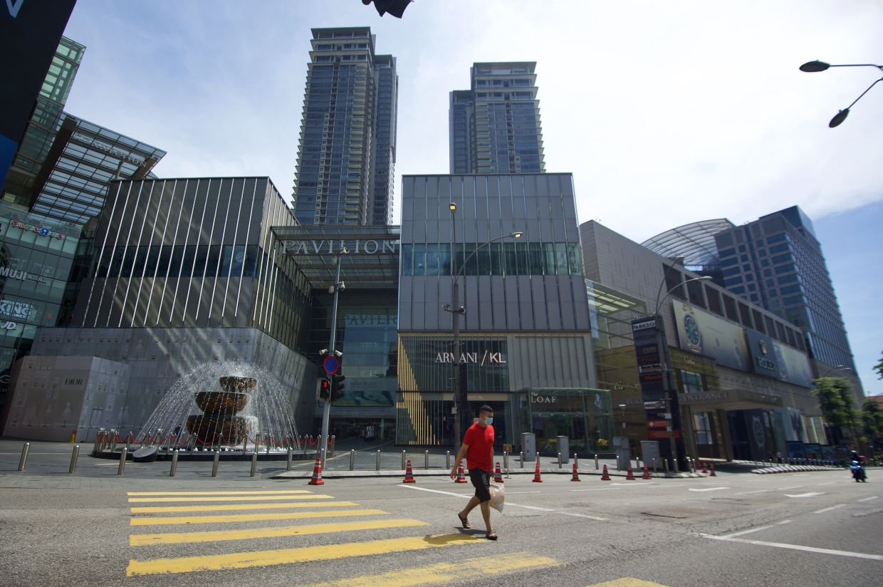 The very busy Jalan Bukit Bintang in Kuala Lumpur with hardly a vehicle or a person passing by during the MCO. — RAJA FAISAL HISHAN/The Star
