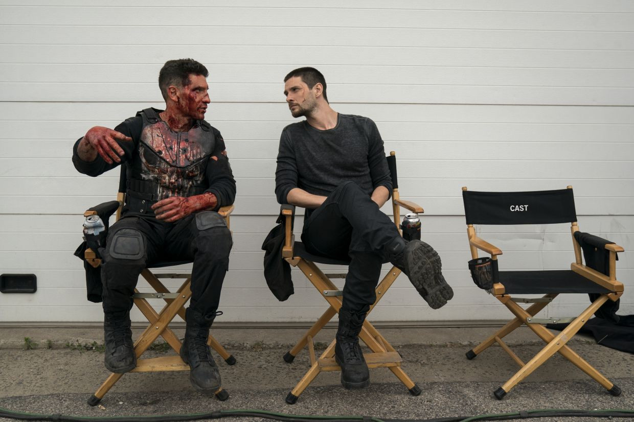 Barnes hanging out with actor Jon Bernthal on the set of 'The Punisher'. Photo: Netflix