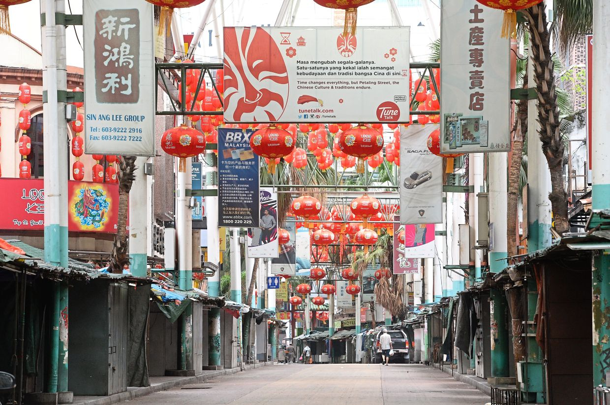 Tourist hotspot Petaling Street in KL is like a ghost town these days. — ONG SOON HIN/ The Star