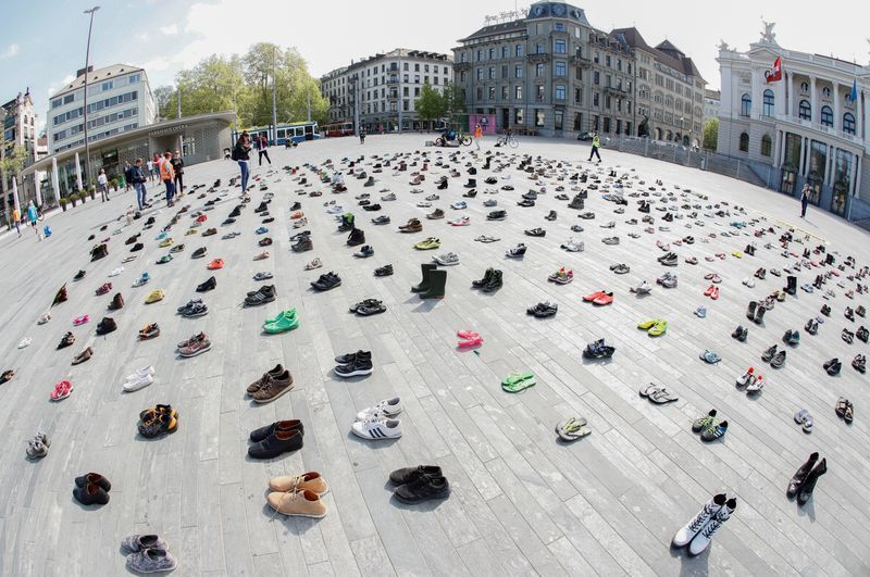 Shoes replace protesters as Swiss climate activists obey virus ...