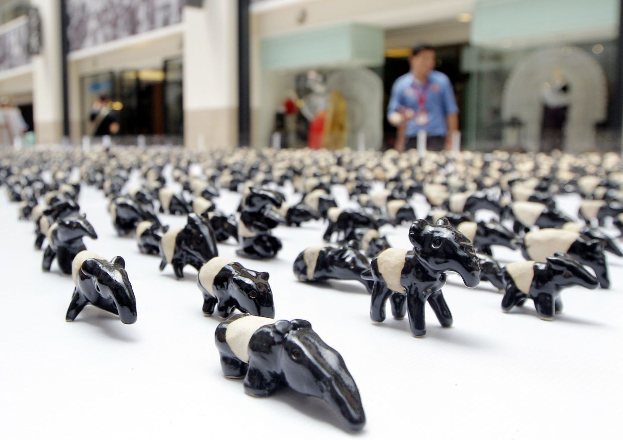 The Malayan Tapir Awareness Campaign 2016 where 3,000 Malayan tapir clay figurines made by schoolchildren across the country were exhibited at Publika in Kuala Lumpur. Photo: Filepic