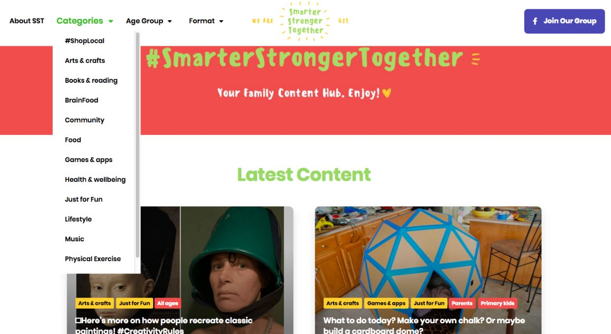 SmarterStrongerTogether web portal is an open online resource for all parents.