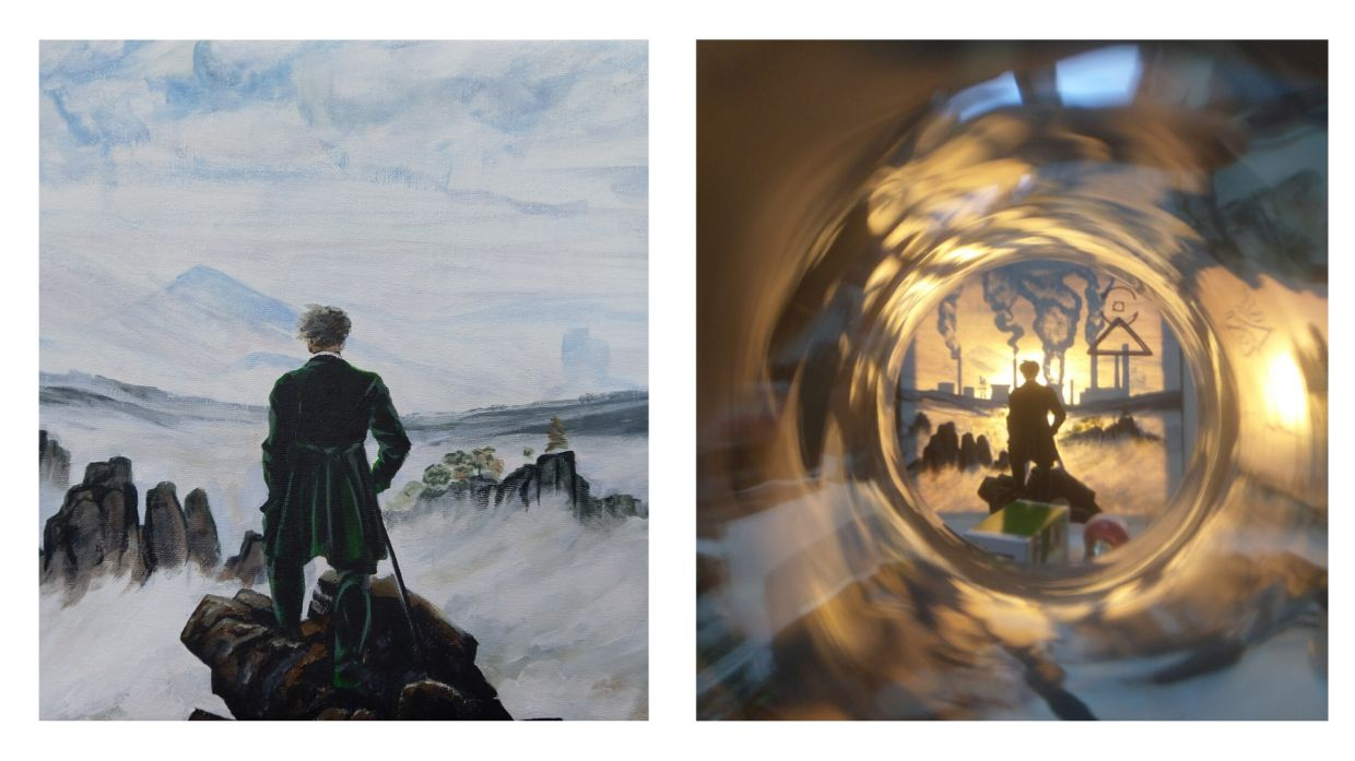 A before and after image showing how Thomas Powell's 'Short-Sighted' artwork visually and aesthetically changes with light. The work is painted on canvas, with a light bulb hanging from the back, revealing the 'truth' behind the work.