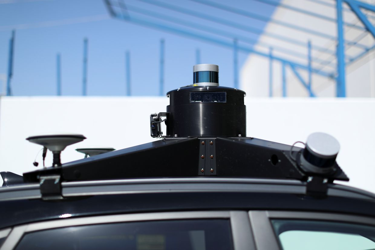 Lidar, cameras and GPS sensors are shown on top of a Hyundai electric vehicle as self driving company Pony.ai begins to provide autonomous electric vehicles to deliver packages from local e-commerce platform Yamibuy during the outbreak of the coronavirus disease (Covid-19) in Irvine, California, US. — Reuters