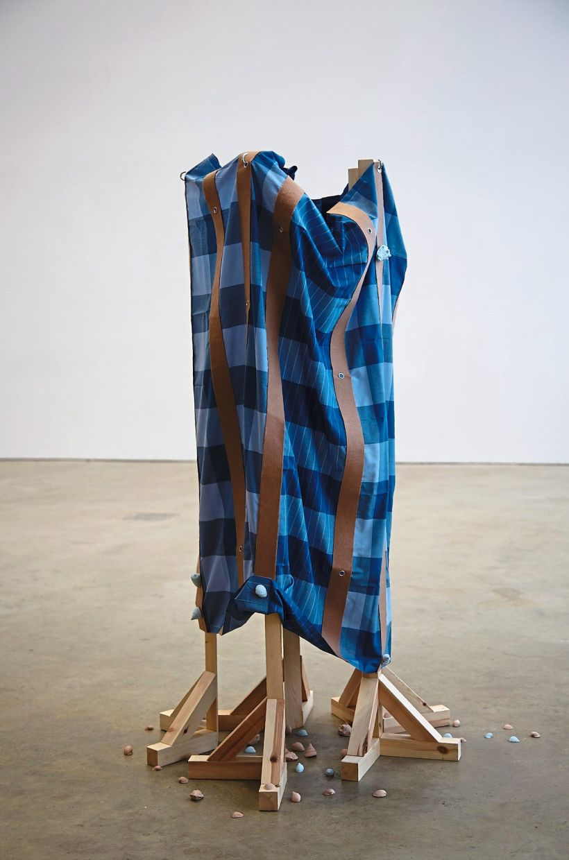 Haffendi's 'Pangkor' (wood, metal, nuts and bolts, jesmonite casts, kain pelikat fabric, felt and adhesive, 2020). Photo: Haffendi Anuar