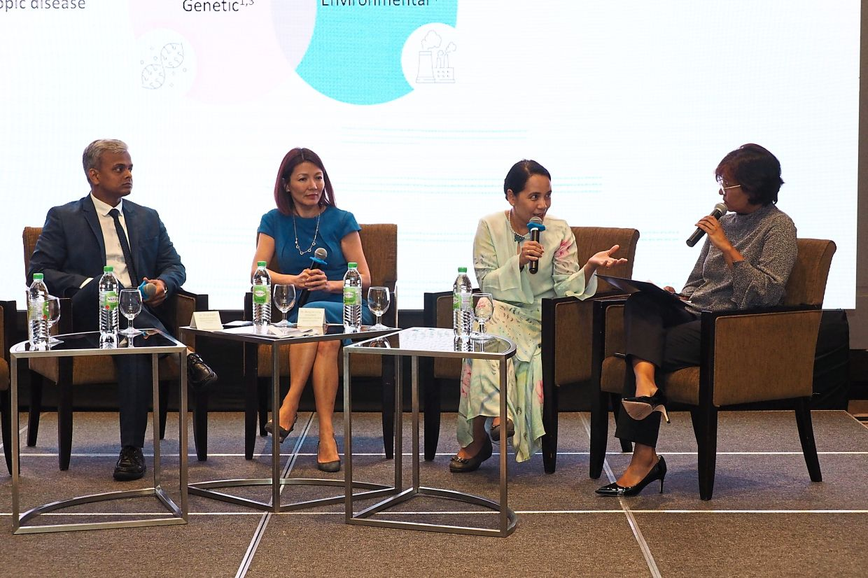 Discussing AD during the launch of Dupixent in Malaysia are (from left) Sanofi Malaysia, Singapore & Thailand Medical Head Dr Shiva Patil, Dr Bong, Dr Noor Zalmy and moderator Meera Sivasothy.