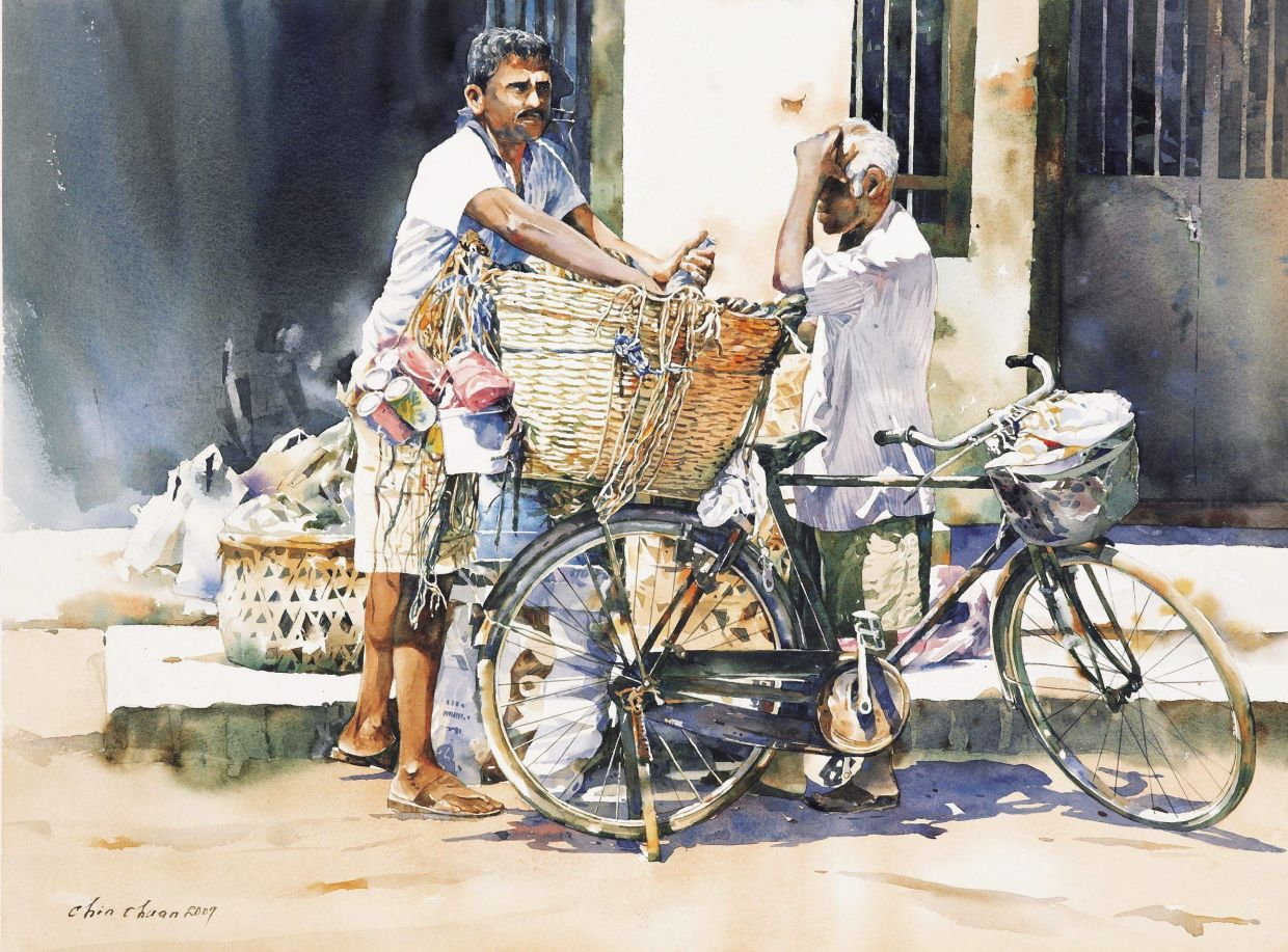 6. Watercolour artist Chow Chin Chuan might be known as the man who paints bicycles. In an indirect way, Chow is also an observer of the realities of communities that rely on bicycles to make ends meet. Chow's 2011 work 'Recycle Morning' features an arresting composition of two men resting amid their rounds of collecting recyclable items. Photo: Filepic