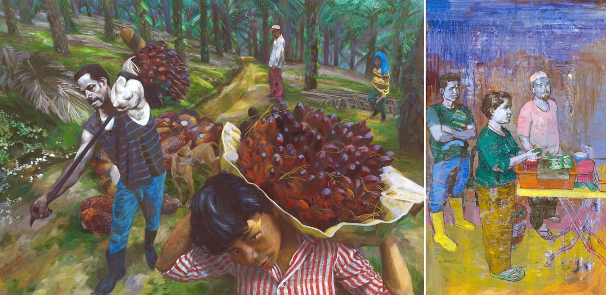 7. From Chinese new village communities to migrant communities at the local mosques, Beijing-trained artist Gan Chin Lee paints expressive and colourful figurative settings, and most of them depict social issues. This work is titled 'Breadwinner' (oil on linen, 2014-15), showing workers at an palm oil estate. Palm oil production is vital for the economy of Malaysia, and has been built on the backs of the migrant workforce. Photo: Filepic