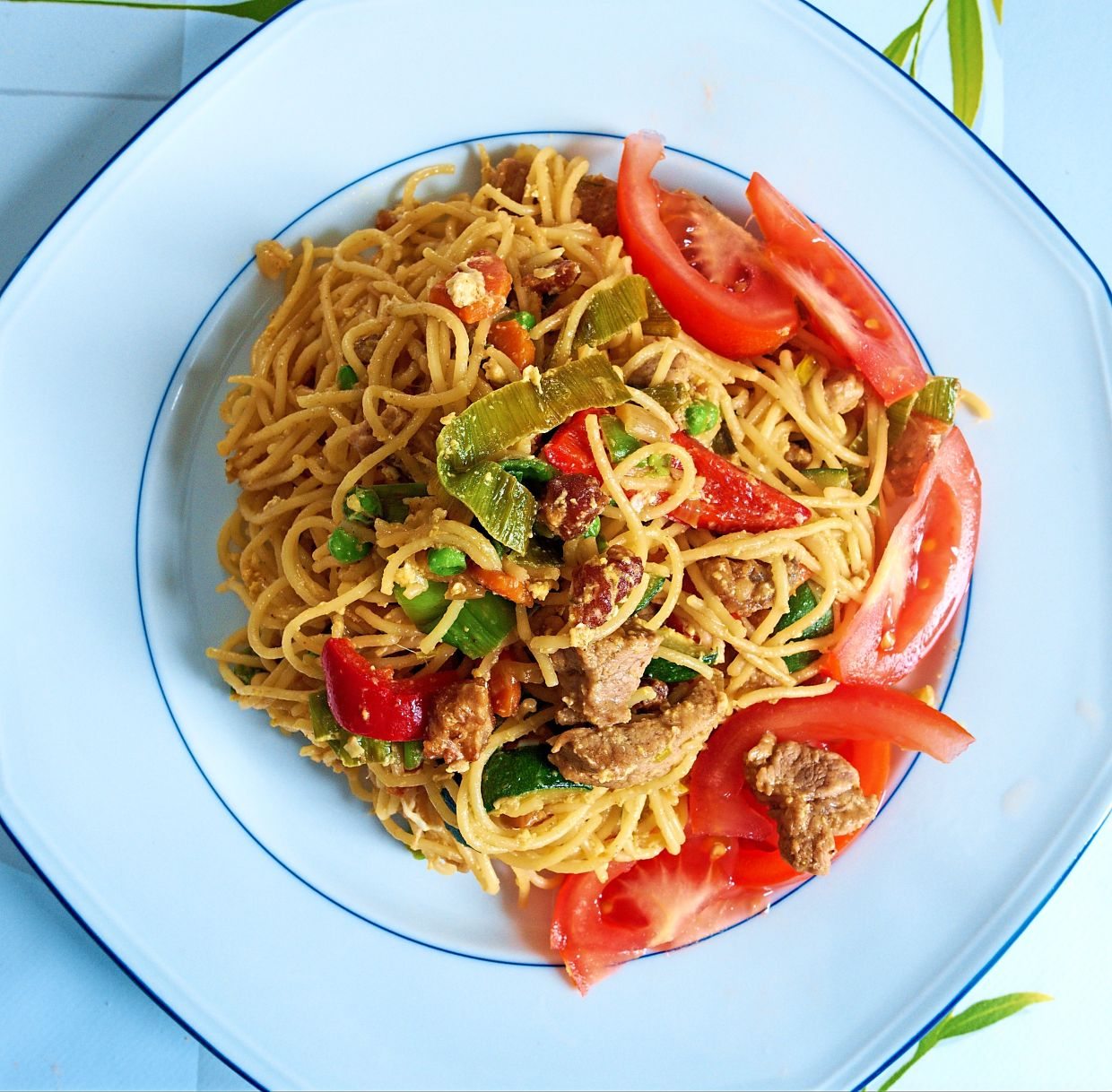 The columnist has used his lockdown time in France to create inventive meals, like this plate of Asian fusion noodles. — CHRIS CHAN
