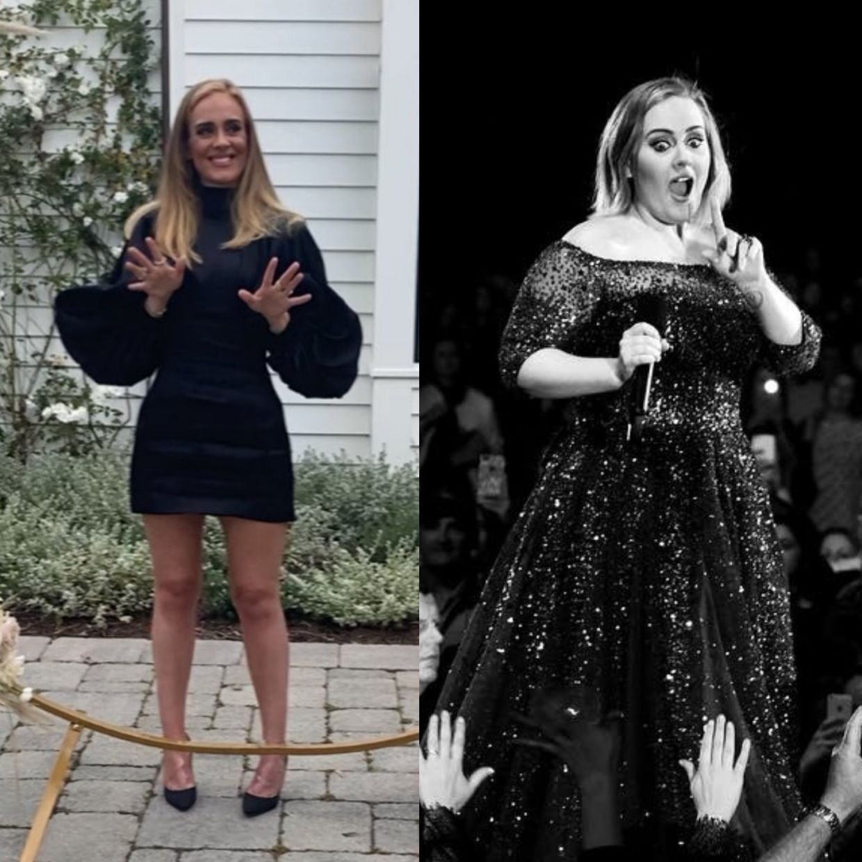 Adele's dramatic physical transformation, as seen from this comparison between her recent photo, and a photo of her at a 2017 concert (right). Photos: Instagram/Adele