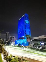 Blue-lit Celcom corporate building honours frontliners