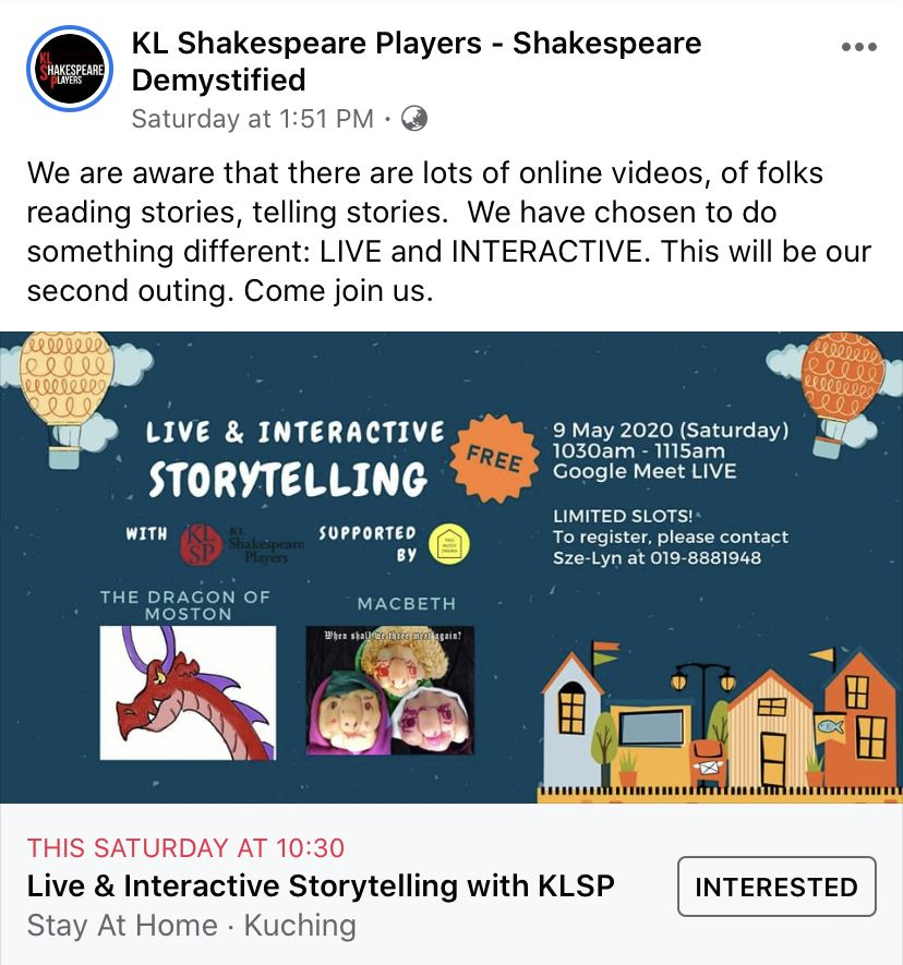 A screenshot of KL Shakespeare Players' online storytelling workshop series for children.