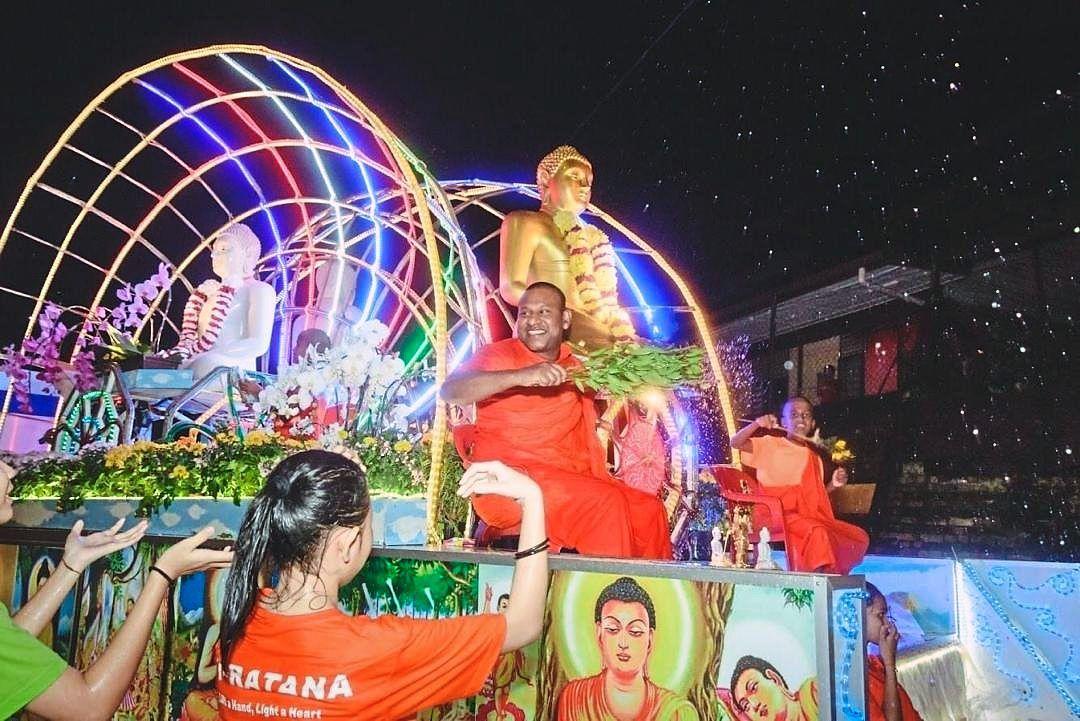 The float procession at Ti-Ratana Buddhist Society's Wesak Day celebration last year.