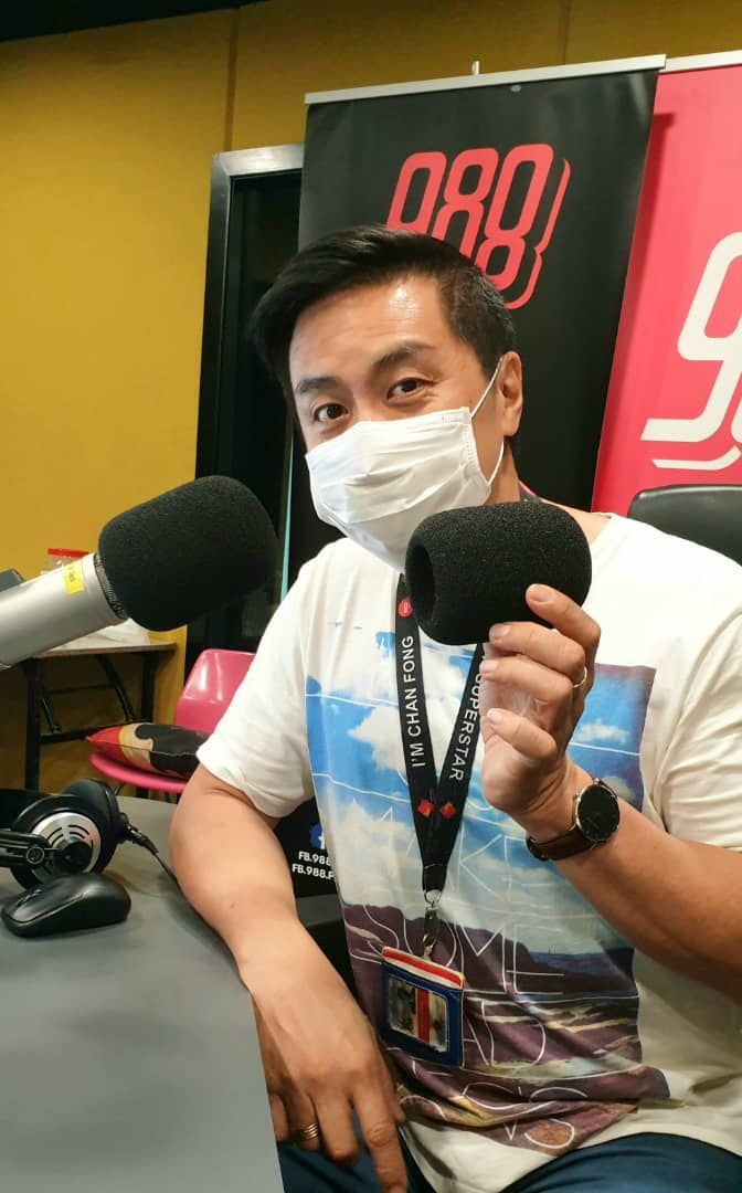 Chan Fong explains the deejays have their own removable microphone cover to ensure hygiene and safety.