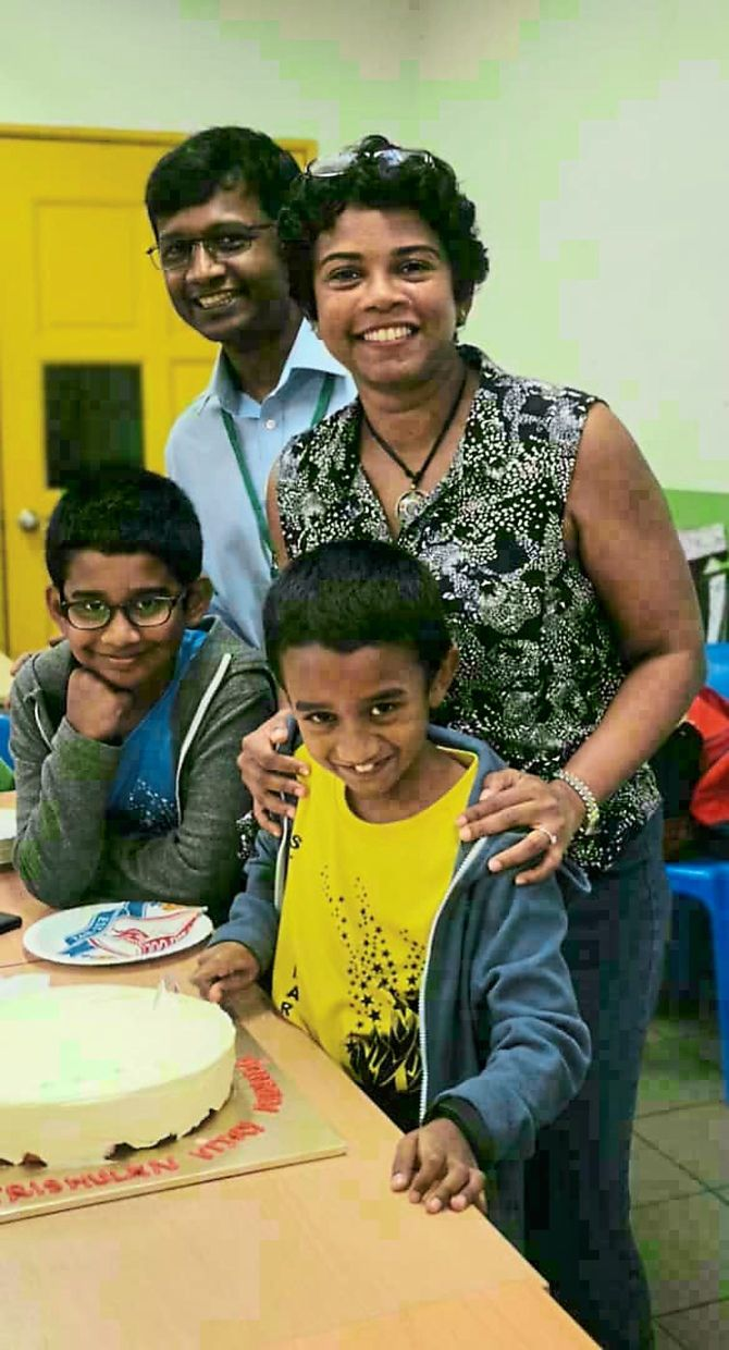 Dr Sasheela's children Ishaan, Trishulan and husband Dr Vijay Ananda are very supportive of her.