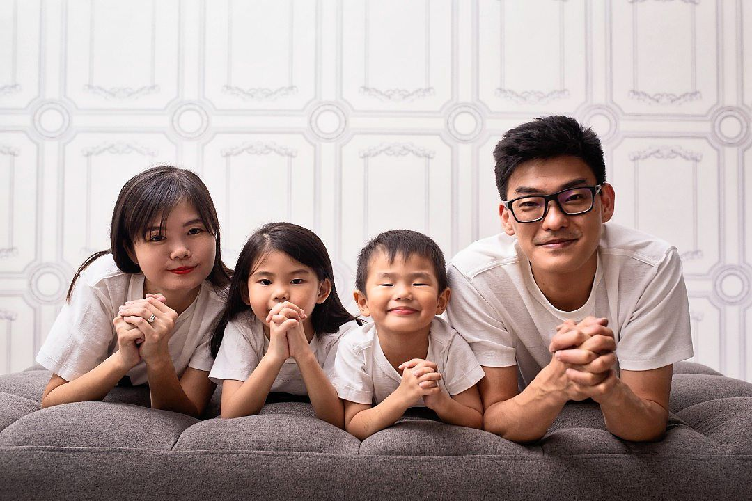 Angela's children Bella Grace, 7, Caden Jae, 5, and husband Alvin Chen are extremely proud of her.