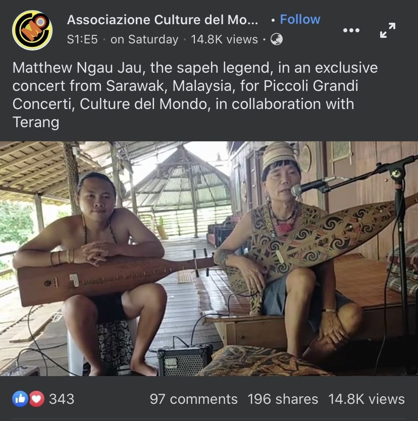 A screenshot of Matthew Ngau Jau (right) and his grandson Luke playing the sape on the Italian-based global online series 'Piccoli Grandi Concerti' on May 2.