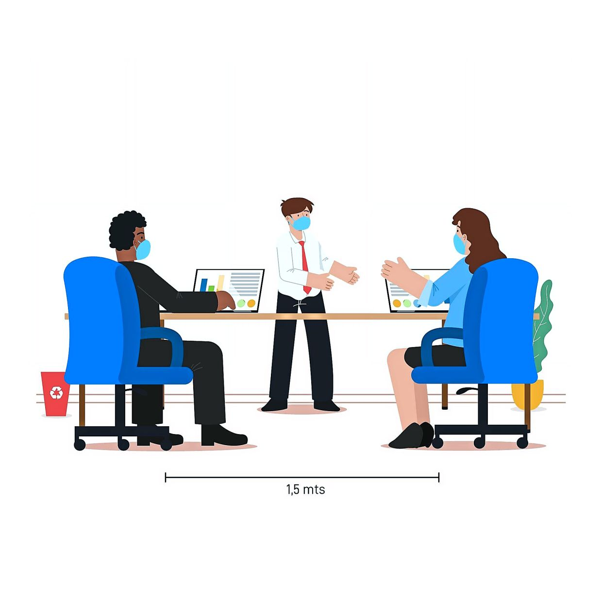 Observing social distancing in meeting rooms is a must, with web conferencing held as often as possible. Photo: Freepik