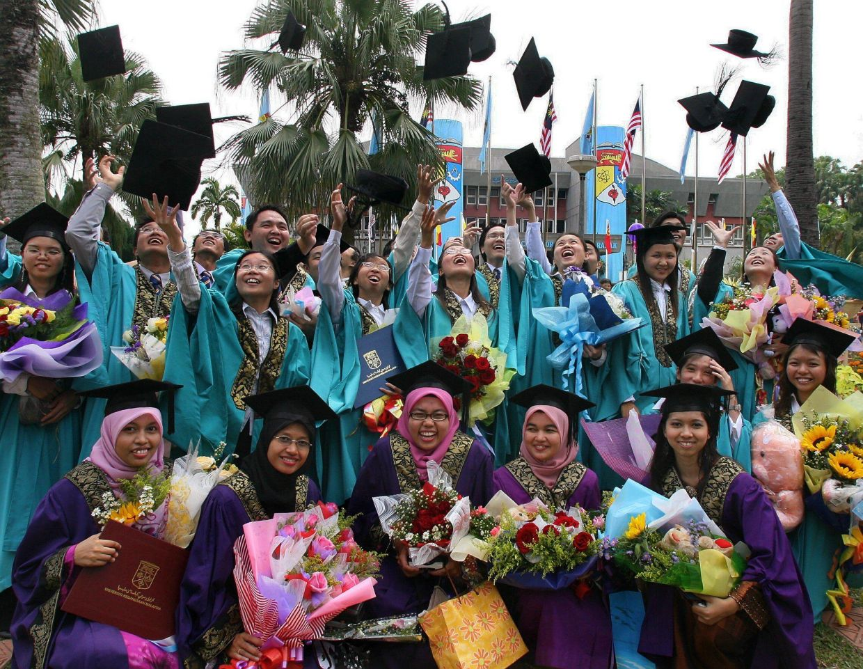Some of the 6,817 UKM graduates at the Bangi campus who received their degrees at their convocation, held over 12 sessions from Aug 12-17.