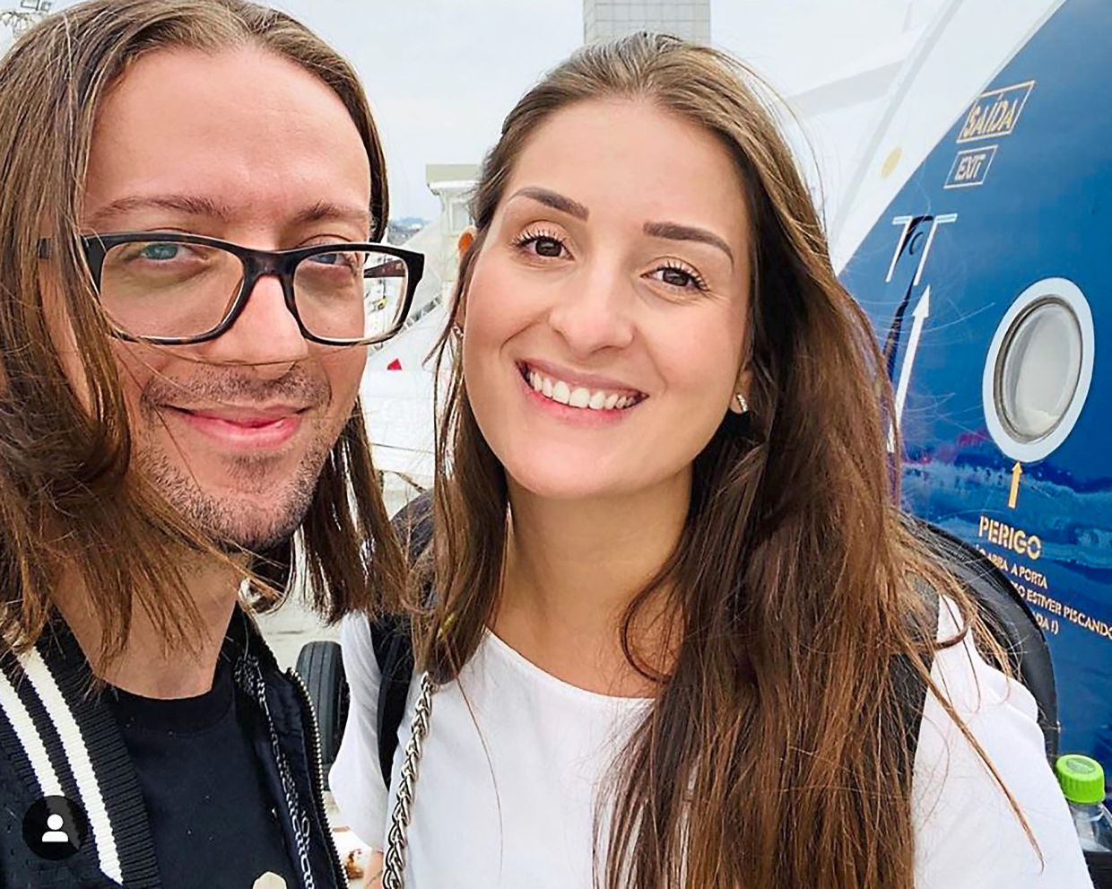 Saldanha is a DJ on the ship while his girlfriend Furlan used to host activities for passengers. This picture was taken in February at the Sao Paulo Airport in Brazil, a few weeks before the couple started their jobs on the ship.  — CAIO SALDANHA