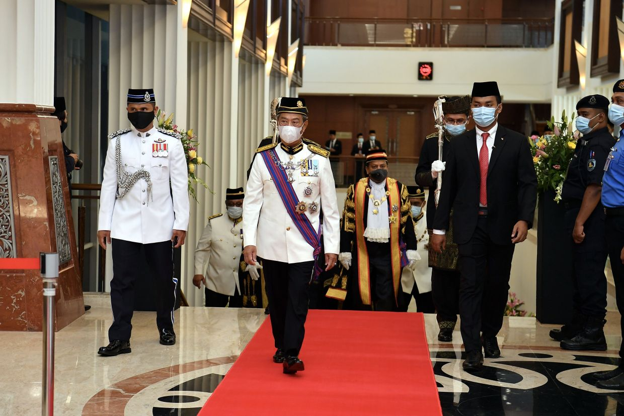Prime Minister Tan Sri Muhyiddin Yassin arriving at the opening of the Third Session of the 14th Parliament in Parliament Building Monday (May 18).