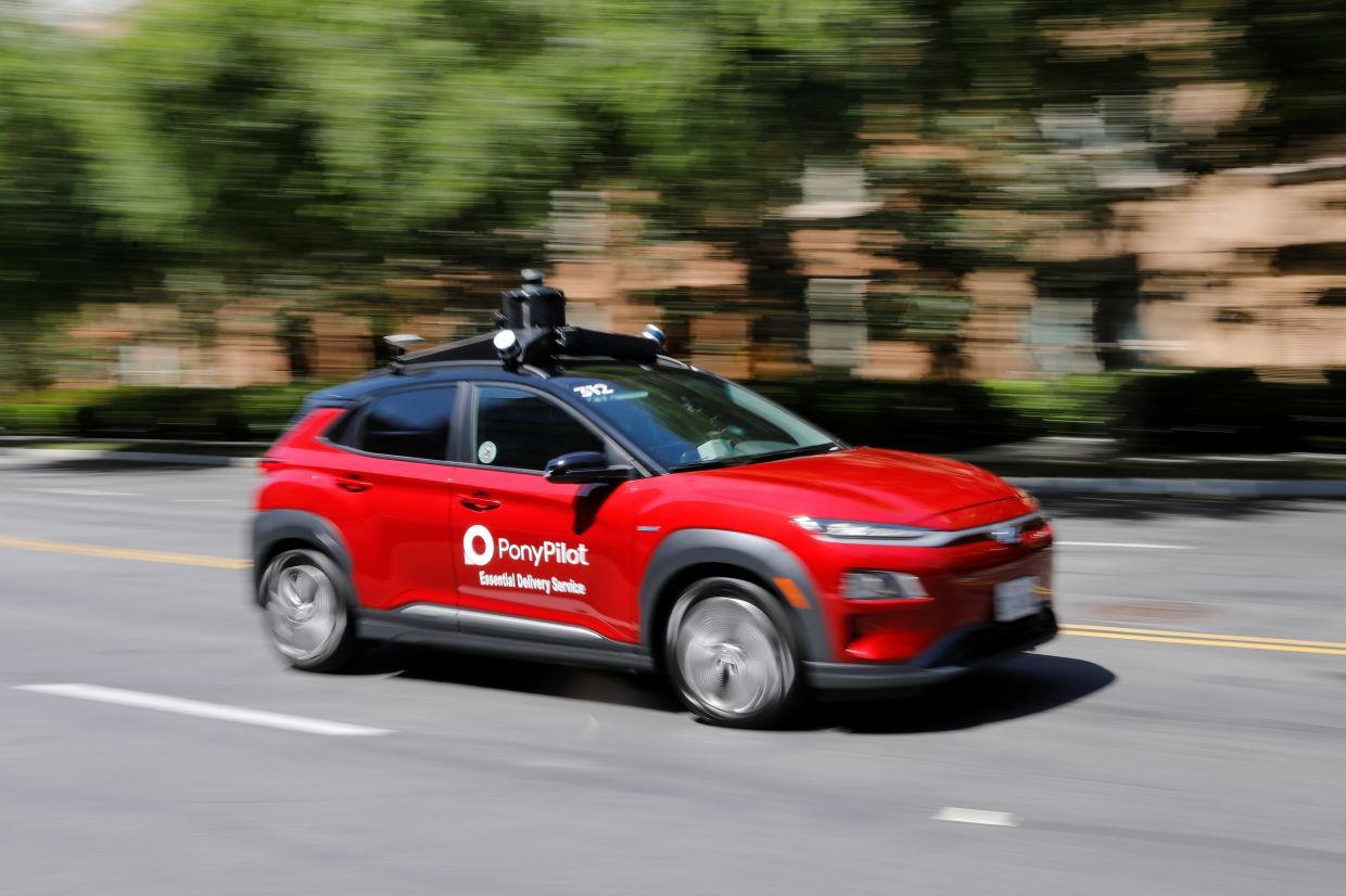 Pony.ai begins to provide autonomous electric vehicles to deliver packages from local e-commerce platform Yamibuy during the outbreak of the coronavirus disease (Covid-19) in Irvine, California, US, on April 28, 2020. — Reuters