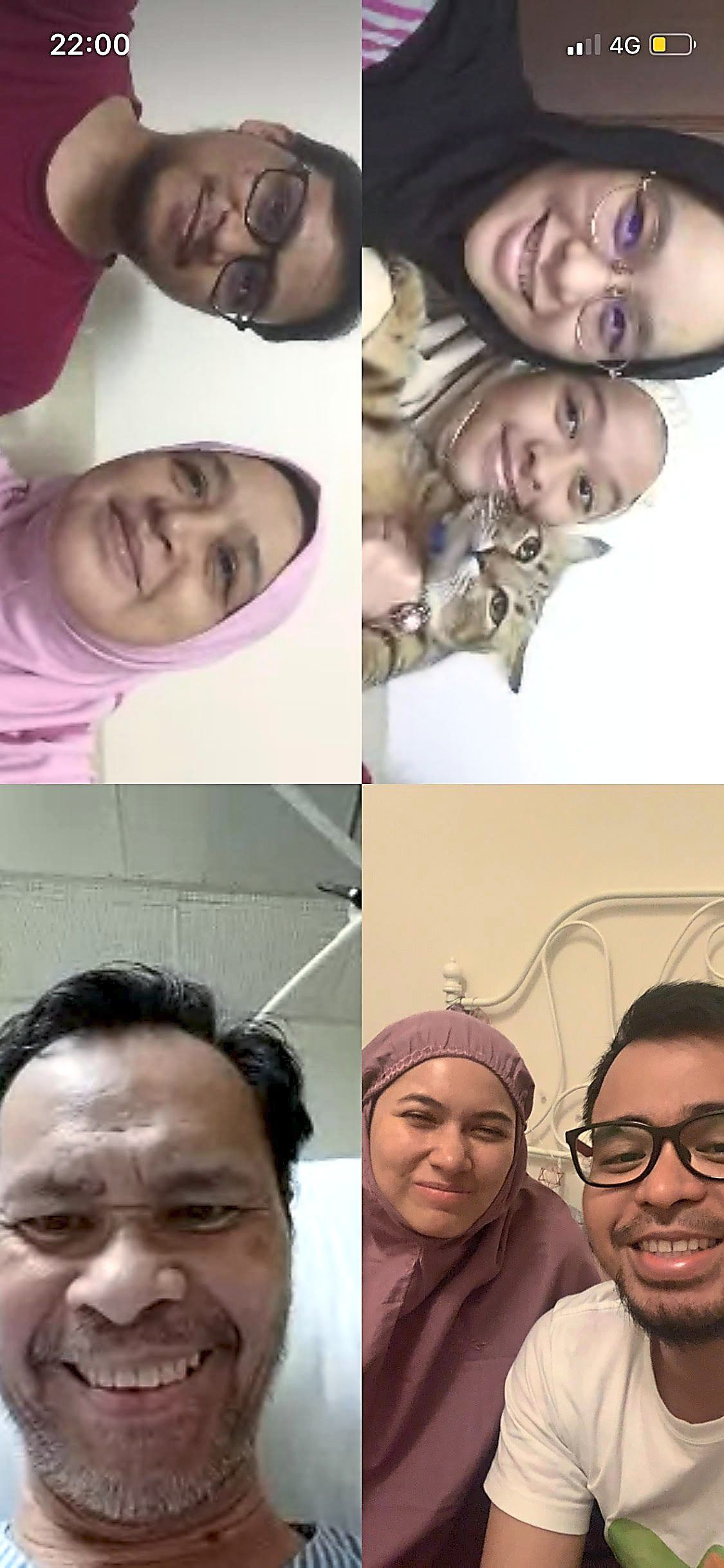 Mahfuz (bottom right) recently managed to get the family together for their first conversation in almost two months, on a video call. His father (bottom left), was warded in the ICU for most part of the MCO, but has since recovered from Covid-19. — MOHAMAD MAHFUZ SHAHARUDIN
