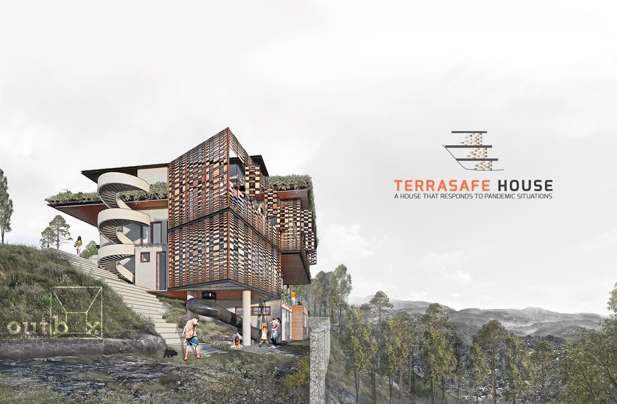 Situated on a sloping hillside, the Terrasafe House is inspired by the terraces carved into the mountains by the Ifugao tribe in the Philippines. Photo: Outbox Architects