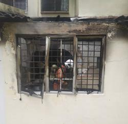 Mother and son injured after kitchen catches fire