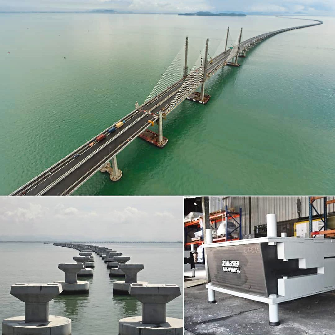 Combo image showing (clockwise, from top) the Second Penang Bridge; one of the rubber quake isolators before installation; and the isolators mid-installation.