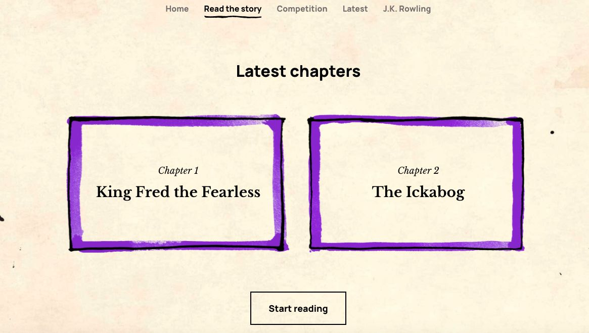 A screen shot of the first two chapters of 'The Ickabog', available to read now on.