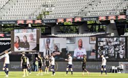 Zoom wall takes in football match as Danish league resumes