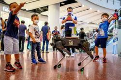 Robot hounds Thai shoppers to keep hands virus-free