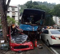 Eight injured as bus crashes into five parked cars in Penang