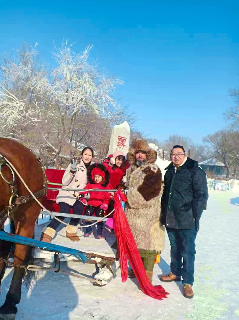 A horse-drawn sledge ride offers a great time for the family.