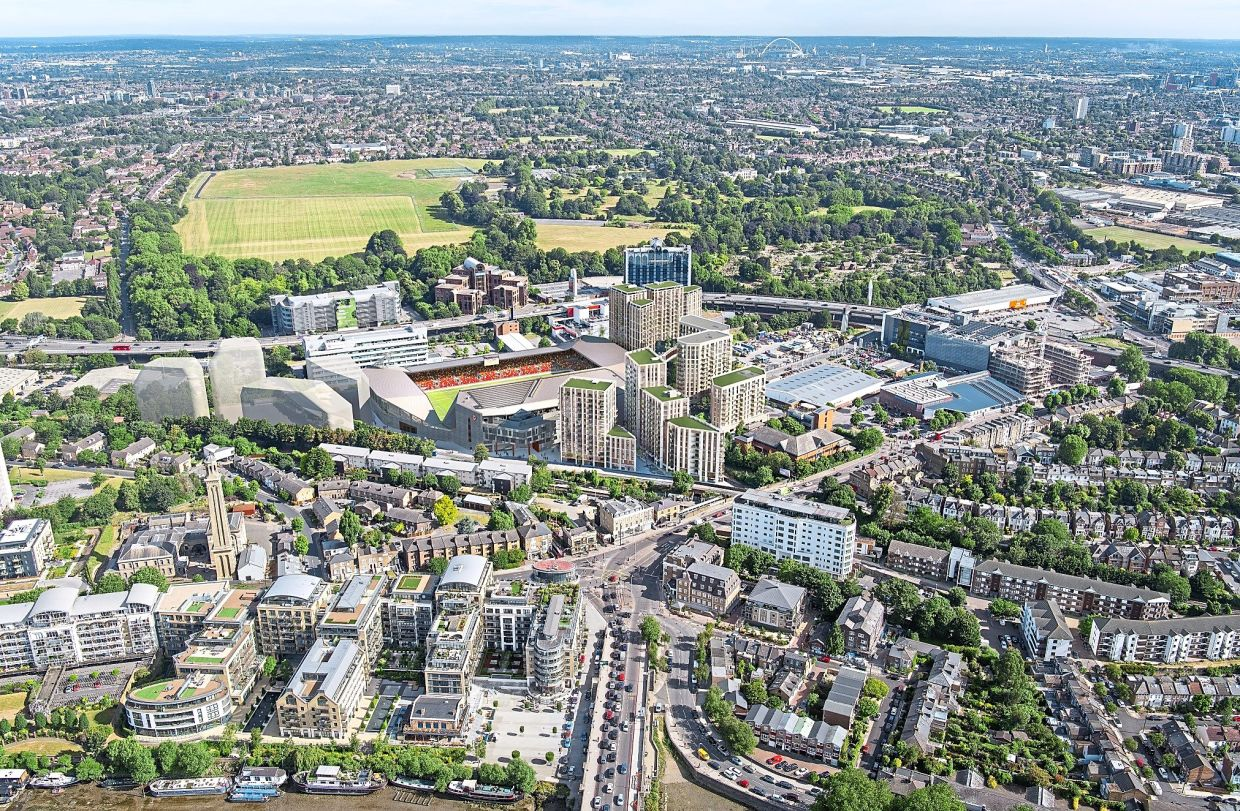 Aerial view of the Kew Bridge development in Brentford, West London.