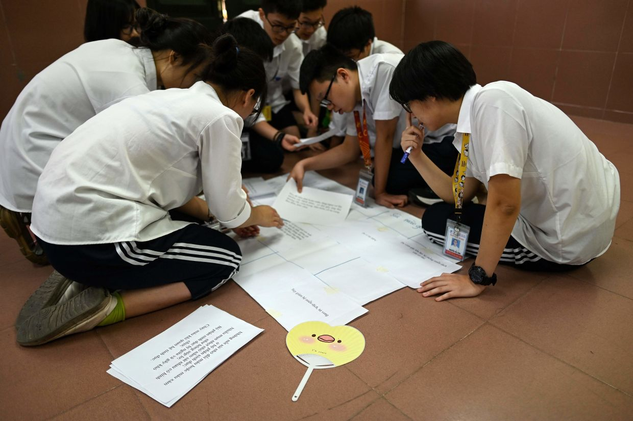High school students taking part in