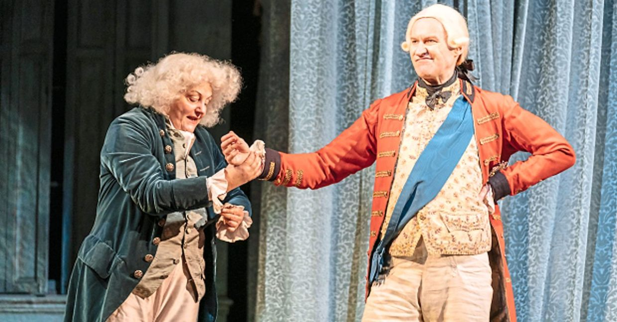 'The Madness Of King George III', presented by the National Theatre Live, is available online until June 18. Photo: Nottingham Playhouse Production