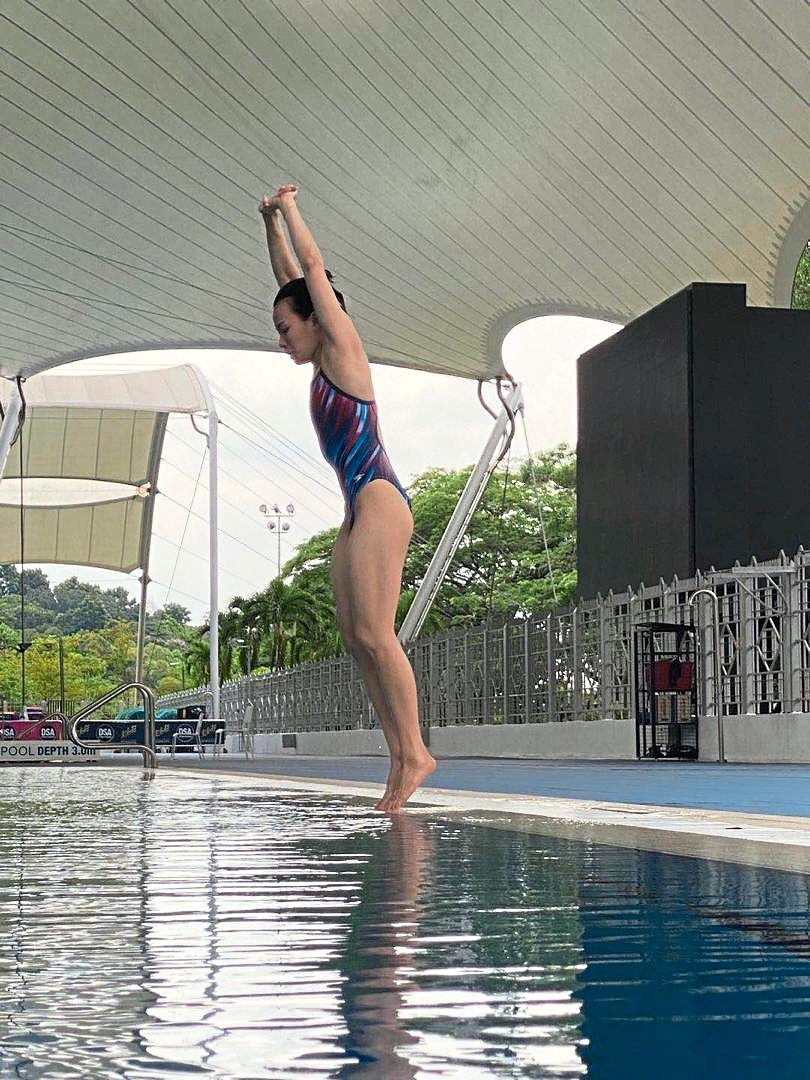 Back in form: Diver Cheong Jun Hoong going through her paces during training in Bukit Jalil yesterday.